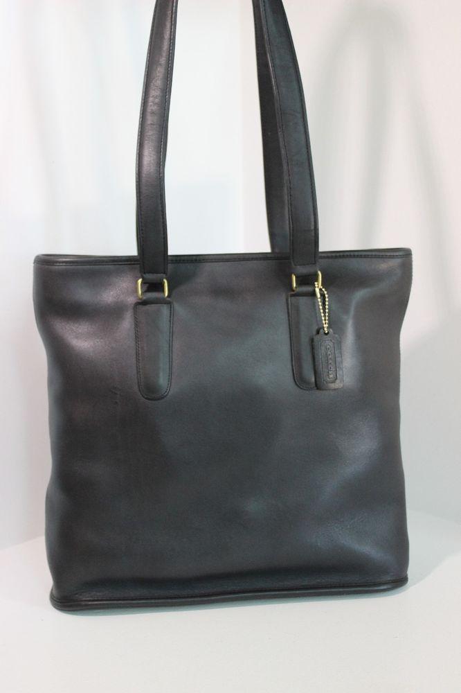 bd0da5bff36c ... shop rare vintage coach dark navy black magazine tote shopper bag  handbag nyc vguc coach vintage