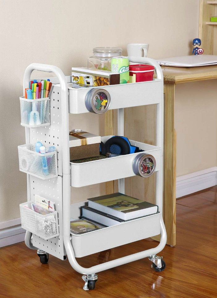 20 Stylish Rolling Carts That Add Extra Storage To Any Room In 2020 Craft Cart Rolling Cart Diy Storage