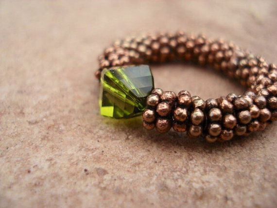 Olive Swarovski Crystal Ring with Antique by MakeMeSmileJewelry