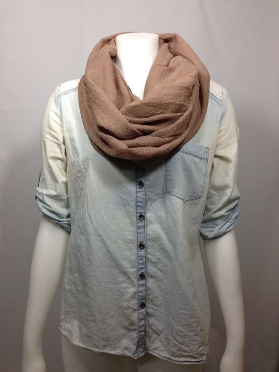 Taupe Crinkle Scarf-Neutral Infinity Scarves on Etsy, $15.00 CAD