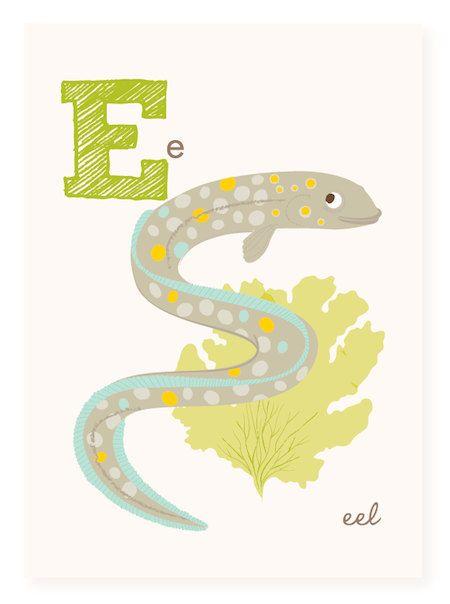 ABC wall art, ABC card, E is for Eel, ABC wall decor, alphabet flash ...