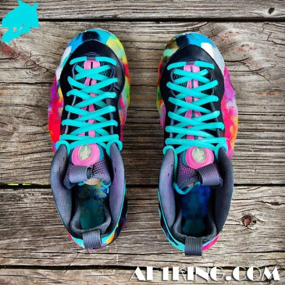 new concept 2950e 13fac nike foamposite one colorful asylum 05 570x570 Nike Air Foamposite One  Colorful Asylum Customs by Gourmet Kickz