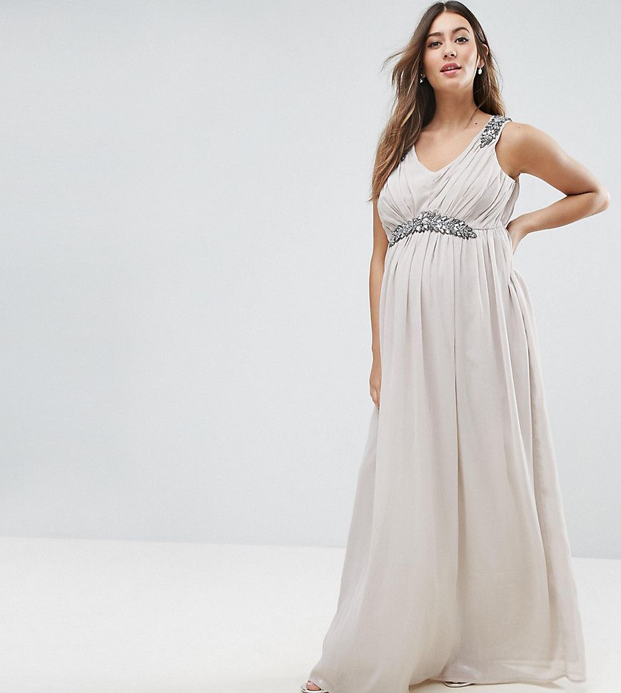 Mamalicious Premium Embellished Maxi Dress - Gray  Embellished