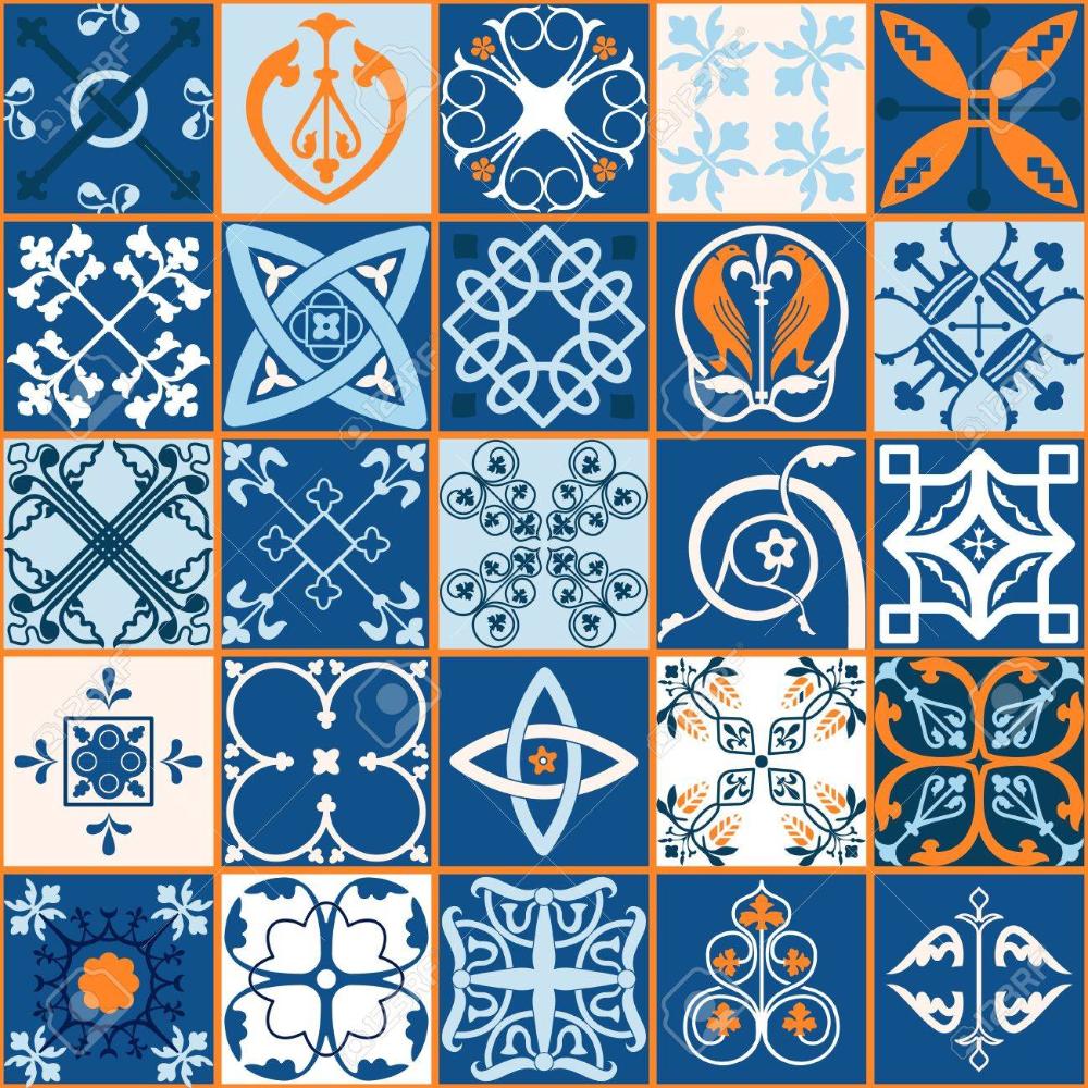 ベクトル図のモロッコ タイルのデザイン 背景 バナーのシームレスなパターン 壁紙 セラミック 繊維のスペインの要素です 中世飾りテクスチャ テンプレート 白と青 タイル デザイン 壁紙 図