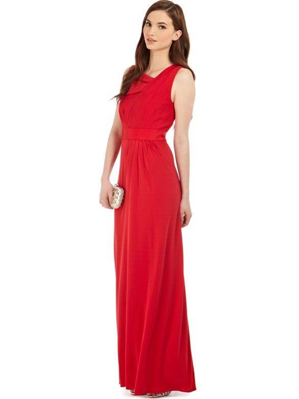 Elegante Abendkleider A-Linie Satin Lang Rot mit Trägern ...