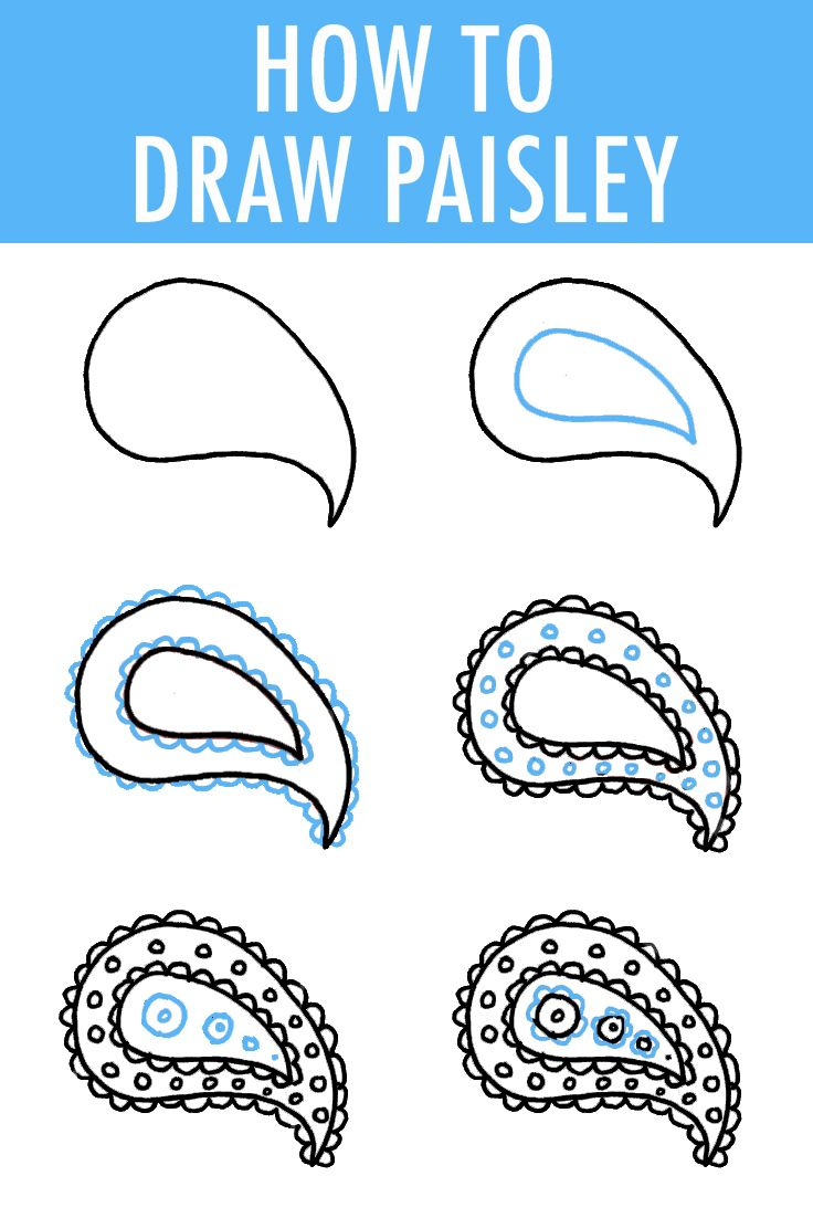 How to Draw Paisley in 6 Easy Steps | Pinterest | Muster zeichnung ...