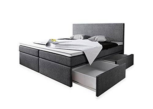 Boxspringbett 180x200 mit Bettkasten Grau Stoff Hotelbett