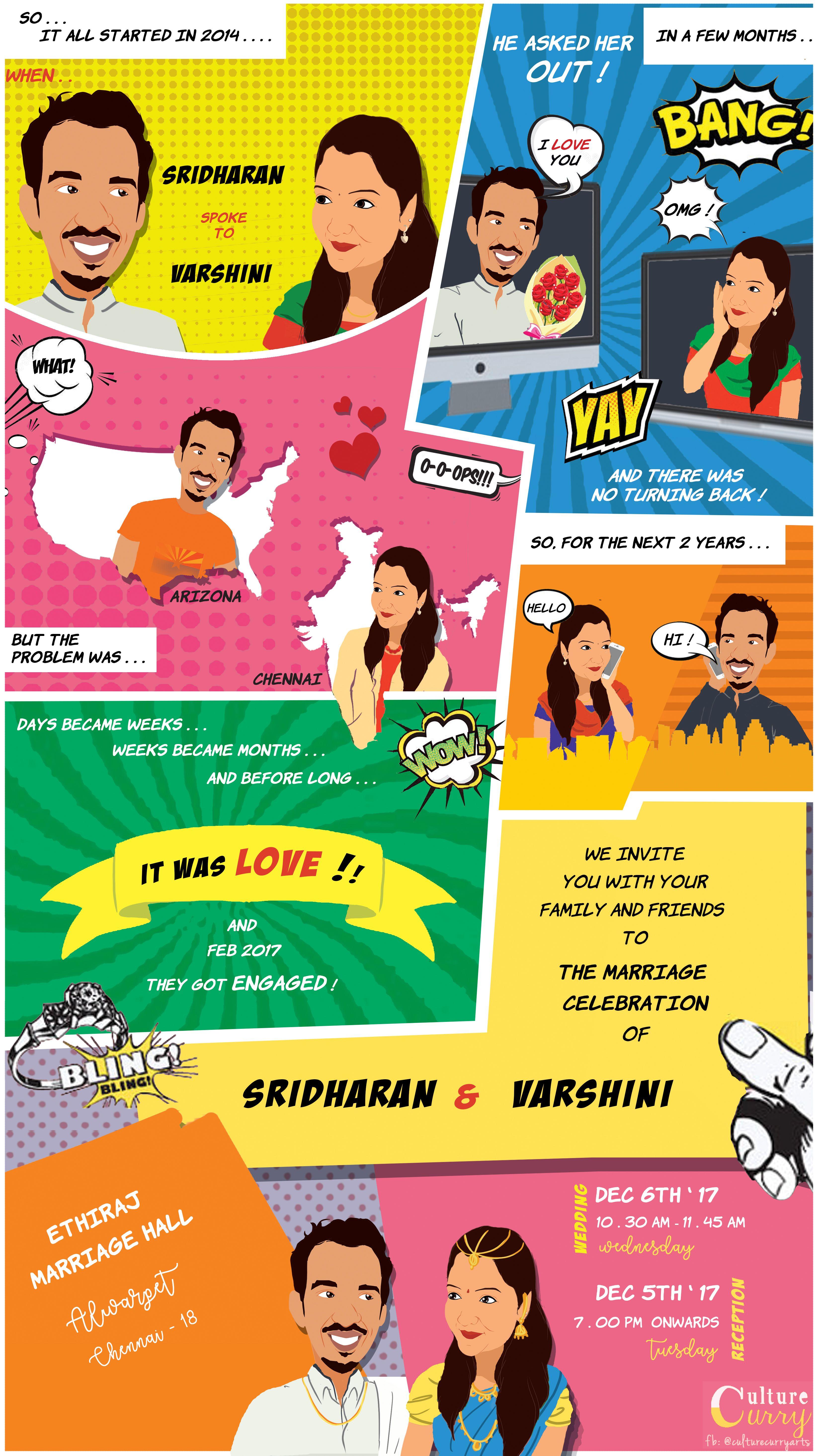 Comic Strip Indian wedding invite, cartoon caricature fun