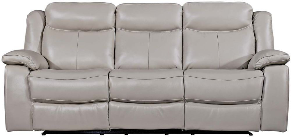 Vida Living Torretta Light Grey Leather 3 Seater Recliner Sofa Reclining Sofa Recliner Sofa