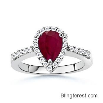 Angara Natural Ruby Victorian Engagement Ring with Diamond in 14k White Gold RfRuH6kzyE