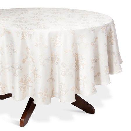 "Silver Snowflake Jacquard Tablecloth (70"" Round) - Threshold™ : Target"