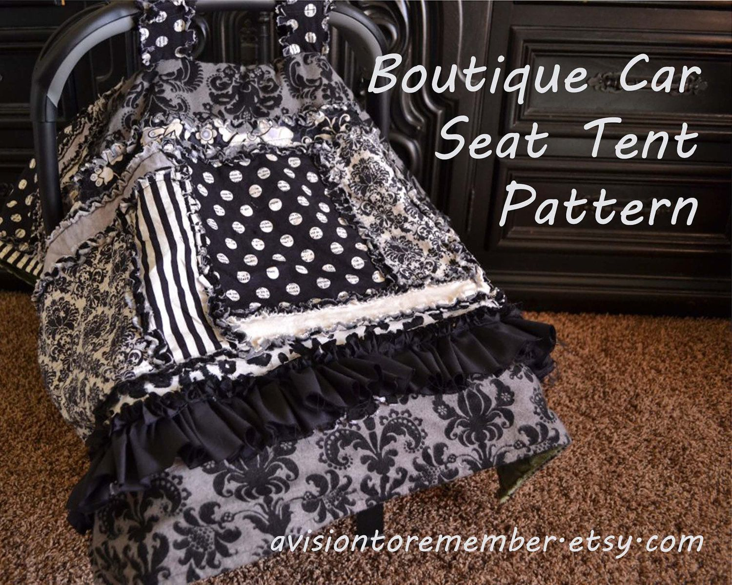 Boutique Car Seat Canopy Pattern - Baby Sewing Pattern - Rag Quilt ...