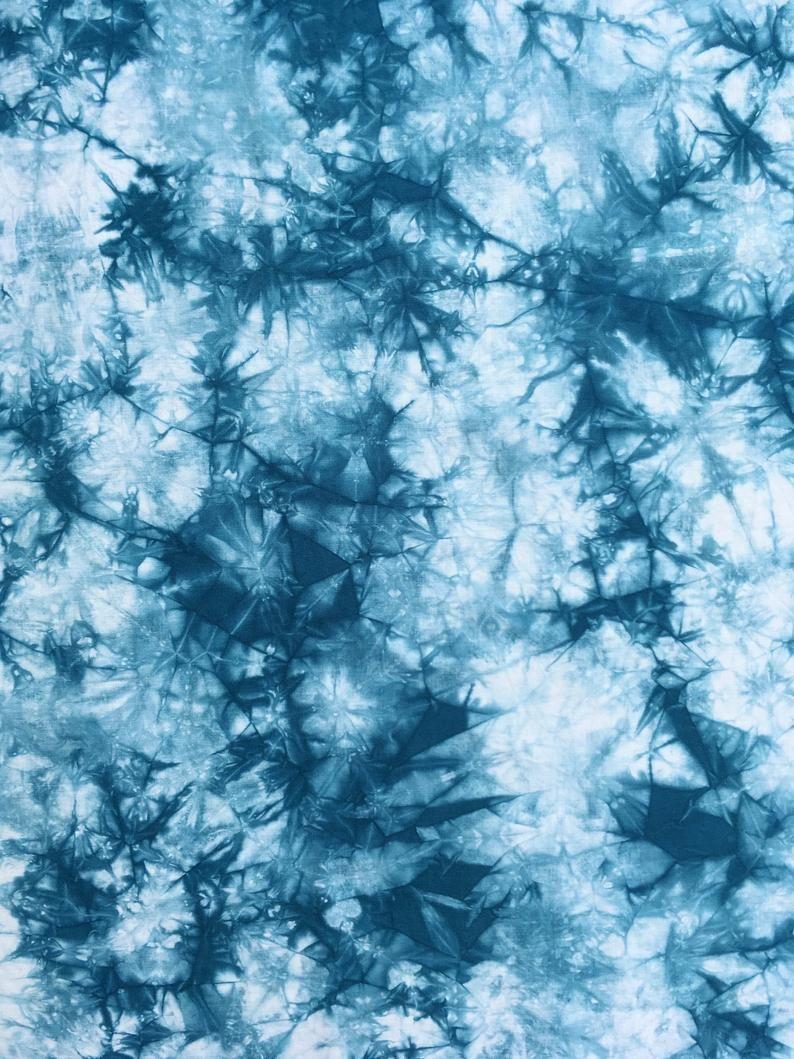 Blue Tie Dye Fabric, Hand Dyed Cotton Shibori Fabric