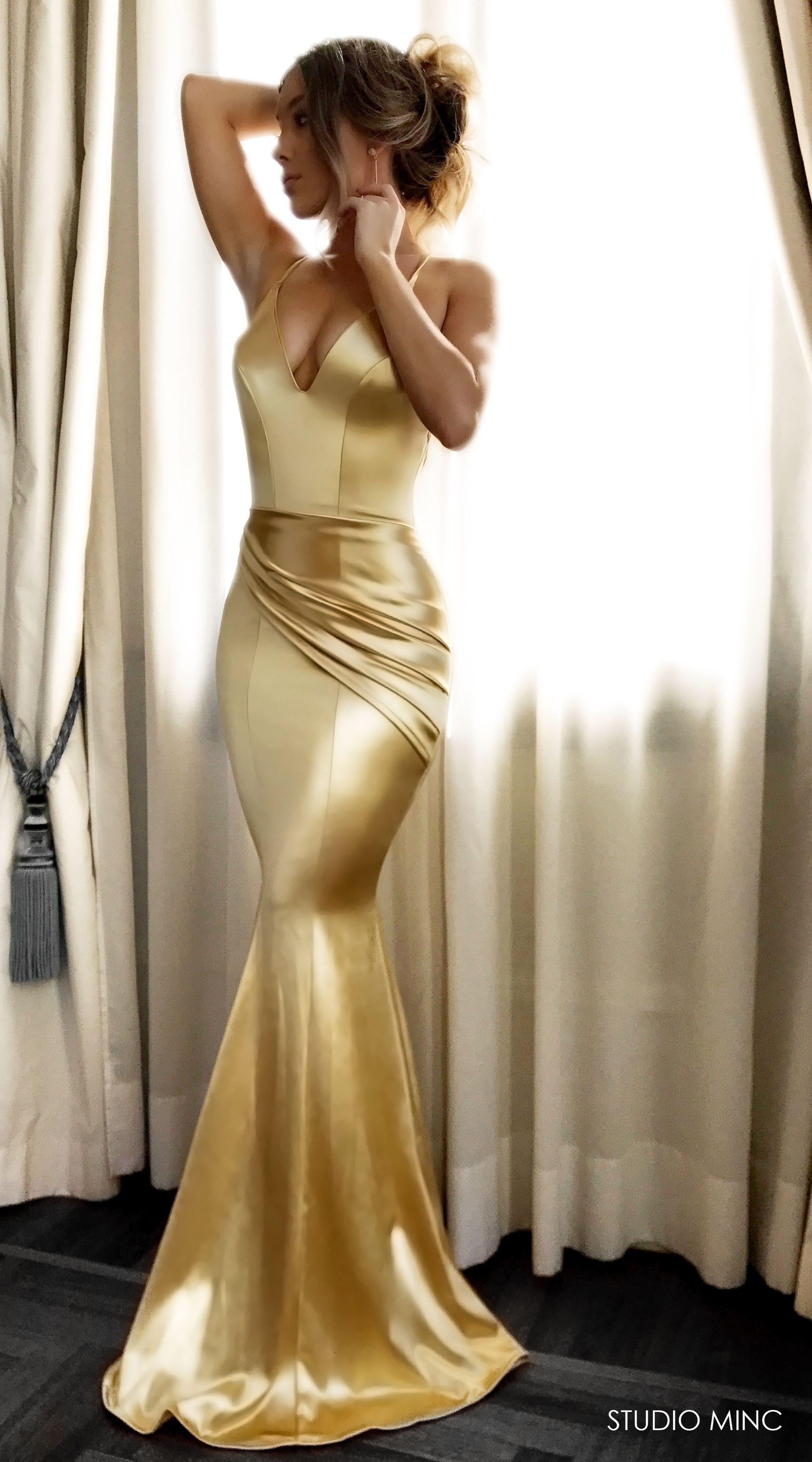 Gold Satin Spell Dress By Studio Minc Formal Prom Backless Dress Mermaid Prom Dresses Backless Prom Dresses Dresses [ 3709 x 2061 Pixel ]