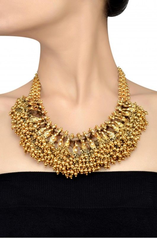 Silver Gold Plated Traditional Round Bead Cluster Crystal Studded Choker