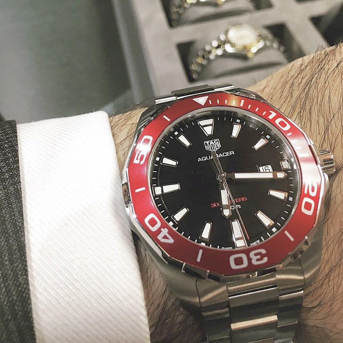 f553a0a8cb0 2017 TAG Heuer Aquaracer 300m Red Aluminium bezel by  alonbenjoseph   tagheuer  aquaracer  quartzpower  calibre11