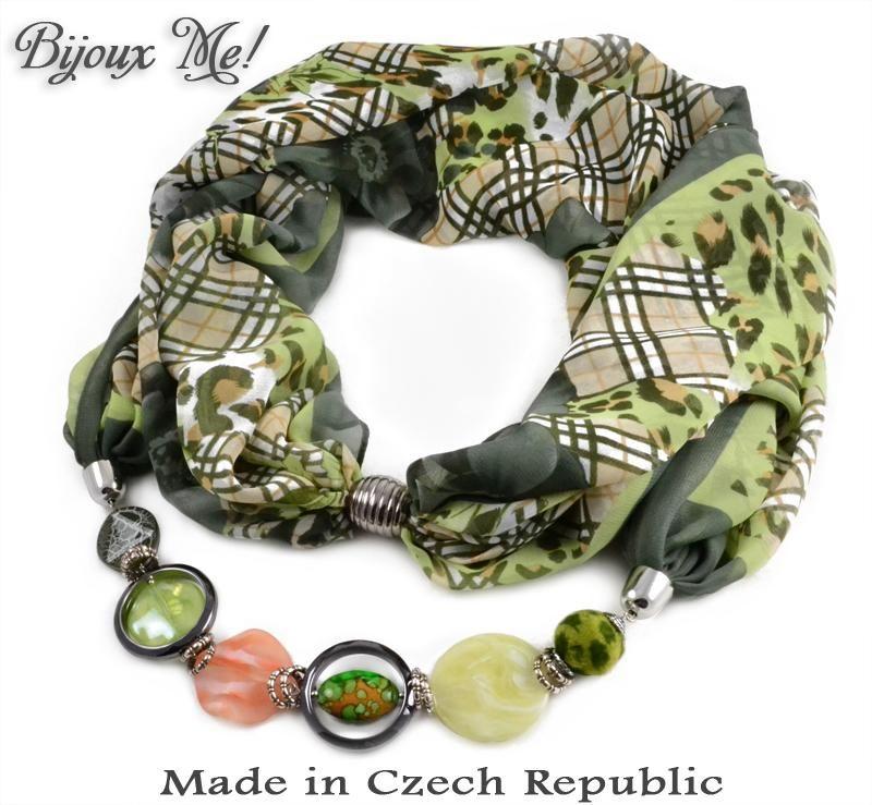 Bijoux Me - Scarf Extravagant - green Leo - Czech glass jewelry   jewelry  made with 8c8ce3b6c0b