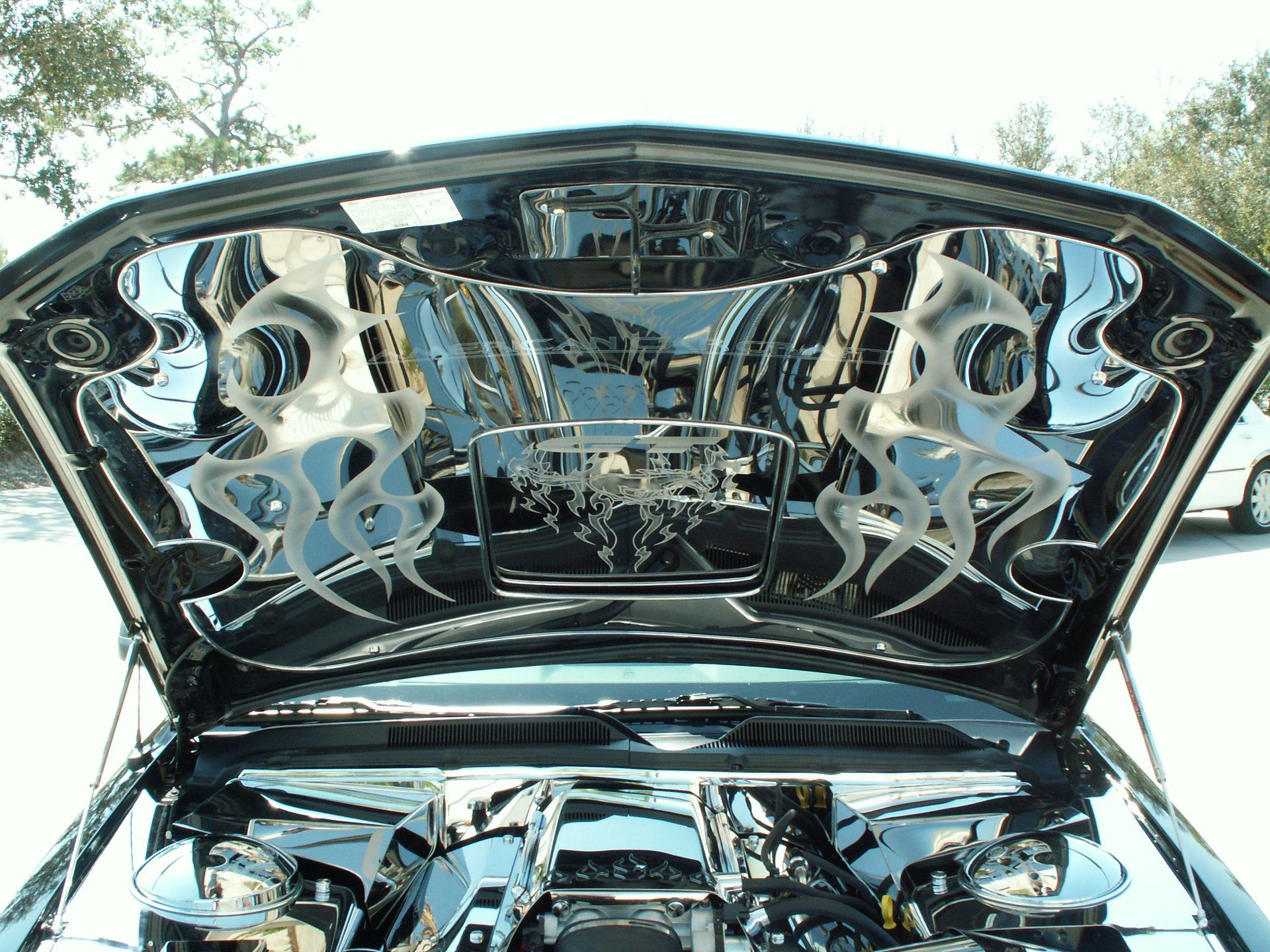 Laser Radial Te Koop Custom Hand Etched Tribal Flames On Ford Mustang Gt Stainless