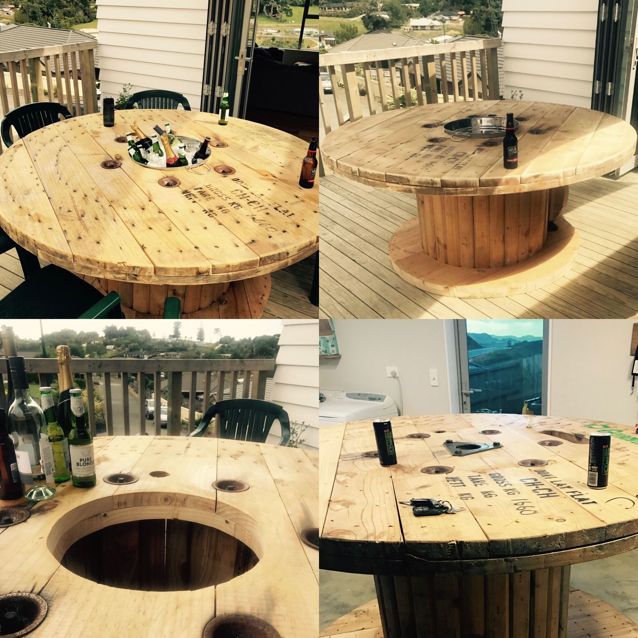 Ice Bucket Table Cable Reel Modified To Create Outdoor Table With Removable Ice
