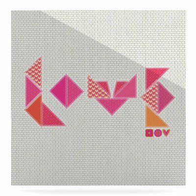 """East Urban Home 'Stitched Love' Graphic Art Print on Metal Size: 10"""" H x 10"""" W x 1"""" D"""