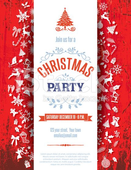 Red Wood Christmas Party Invitation Template The text is centered