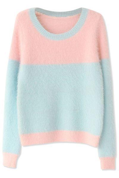 Sweet Pink Light Blue Long-Sleeves Mohair Knit Sweater - OASAP.com ...