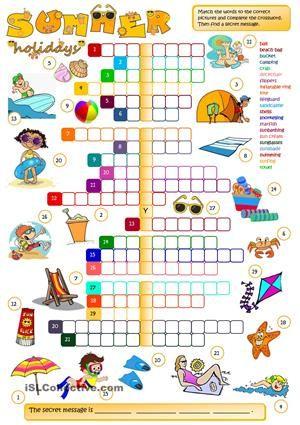 Summer holidays - CROSSWORD | English (crosswords) | Pinterest ...
