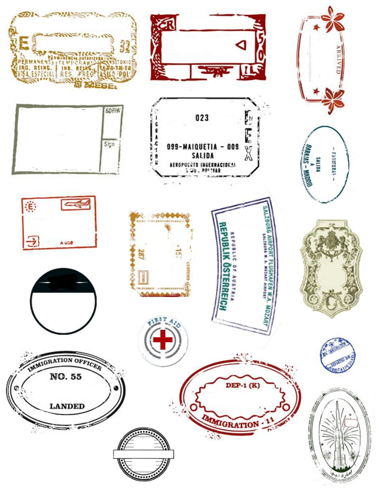 Printable Passports And Customizable Stamps