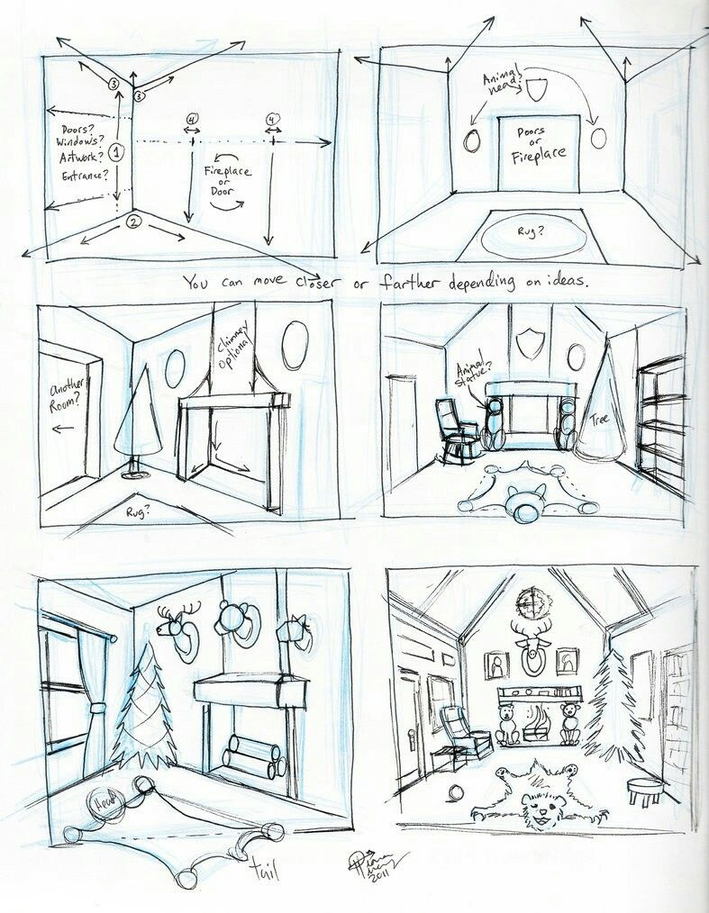 Bedroom In One Point Perspective Interior Drawing Sketch: Pin By Joe Lopez On Drafting And Drawing In 2019