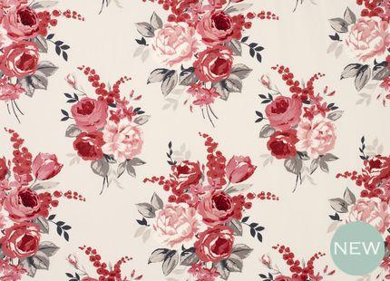 Chiswick Cotton Fabric, Cranberry