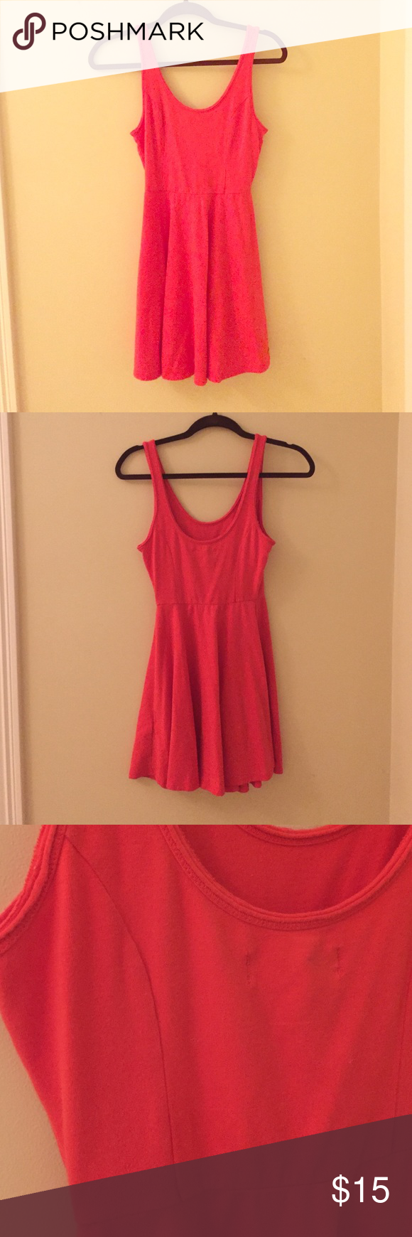 Hollister Dress Used once, cotton, very stretchy, orangey red, comfortable Hollister Dresses