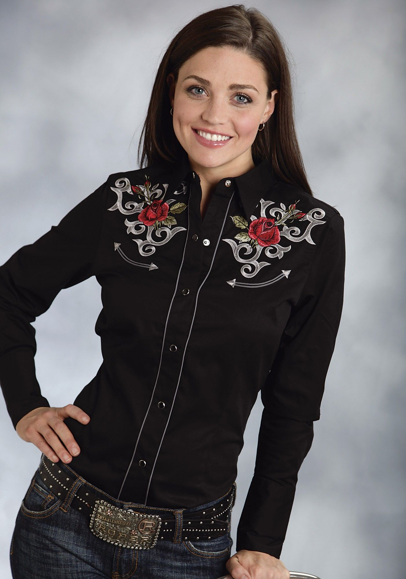 Roper® Womens Black Rose Embroidered Long Sleeve Snap Old West Shirt ... bd7eede269