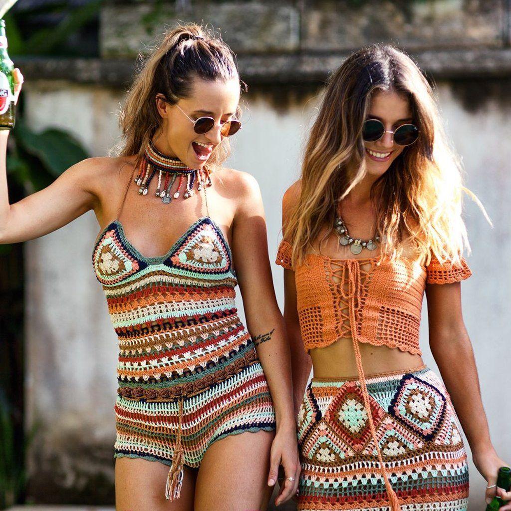 Spice Road Crochet Shorts Set Lace Up Tube Top Multi Striped Bikini Festival Outfit Brown Turquoise Burnt Orange Size Small / Medium