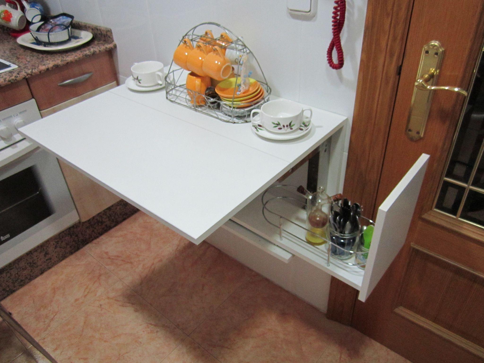 Mesa abatible en m dulo de cocina joster mesas for Modulos para cocina