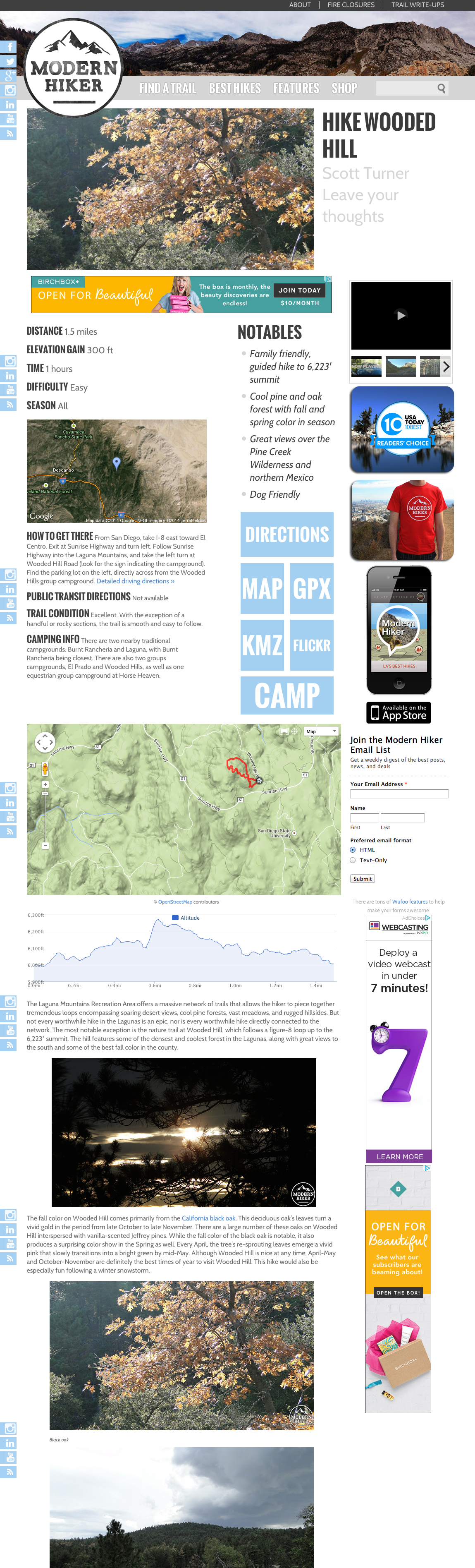 See elements on details page. Map, pics, etc... http://www.modernhiker.com/