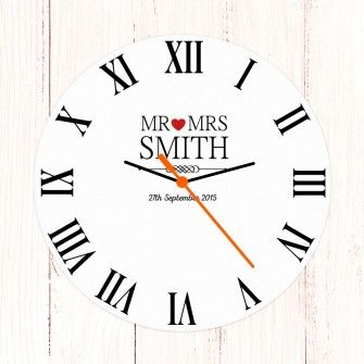 Personalised Wedding Clock Mr And Mrs
