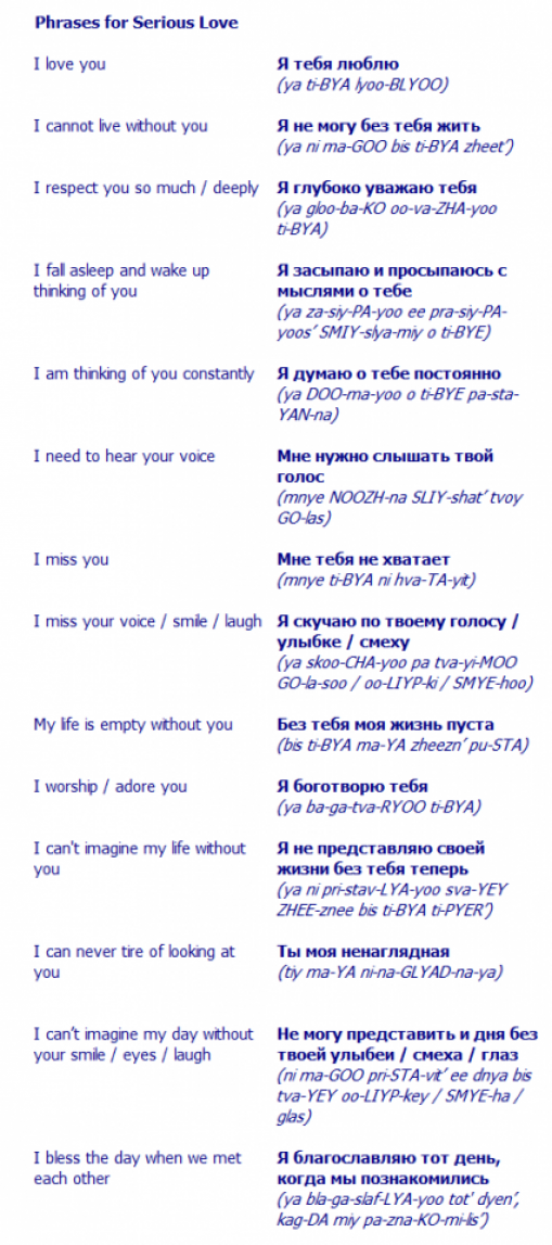 Russian Phrases For Lovers Russian Language Lessons Learn Russian Russian Language