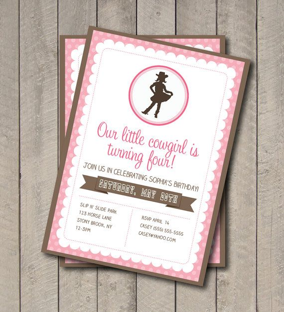 Cowgirl birthday party invite pink brown cowgirl invitation cowgirl birthday party invite pink brown cowgirl invitation digital printable invite western filmwisefo