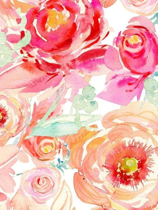 Wallpaper Porches Floral Flowers Watercolor Roses