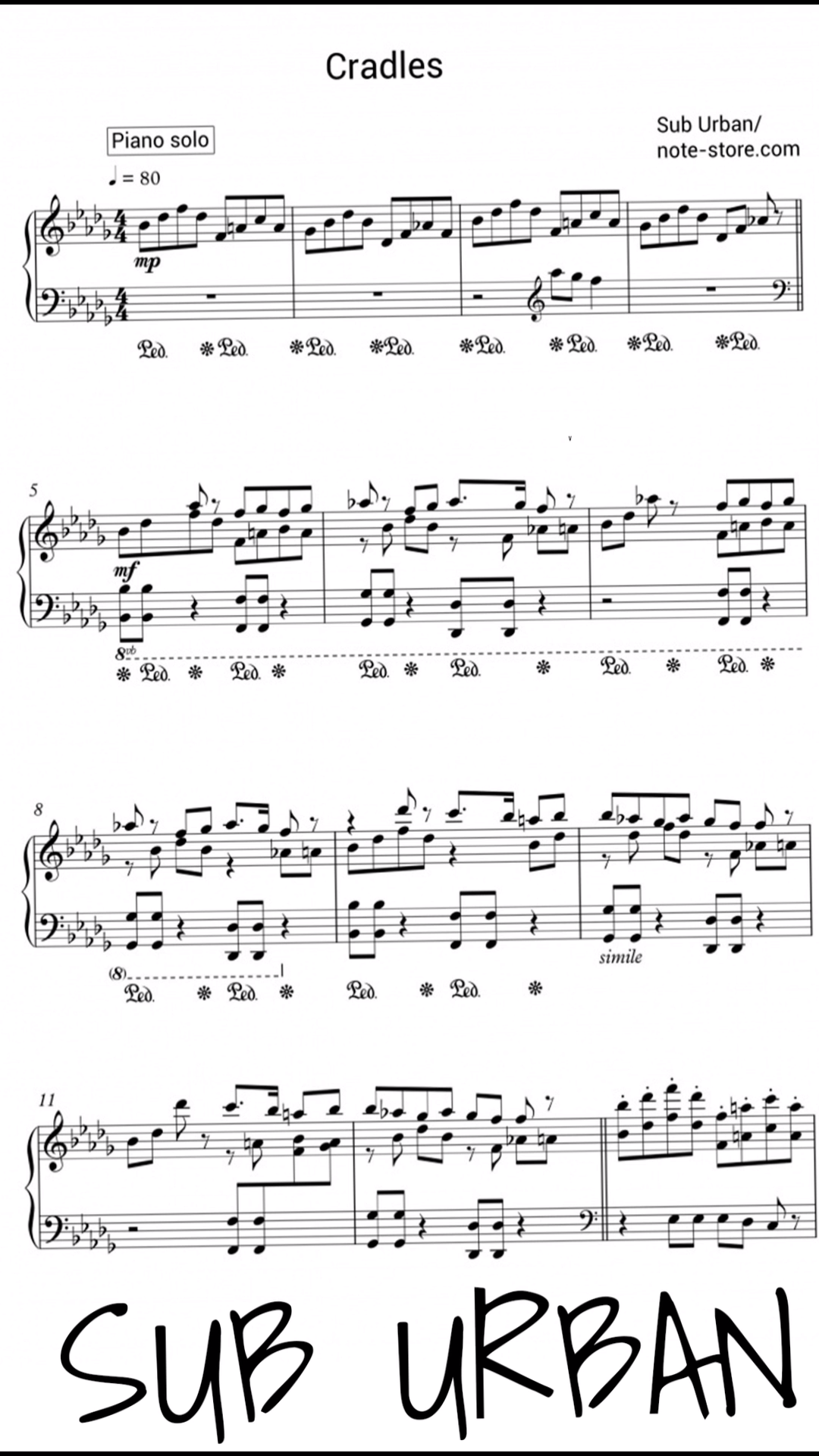You're able to download printable sheet music Sub Urban - Cradles for piano (Piano.Solo SKU PSO0013433) at our online store of digital music. All music sheet in excellent quality from professional musicians!
