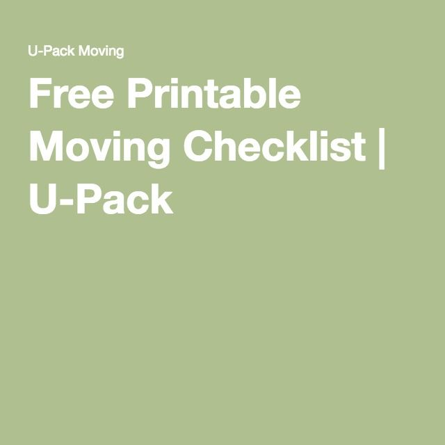 Free Printable Moving Checklist  UPack   Apartment Hunting