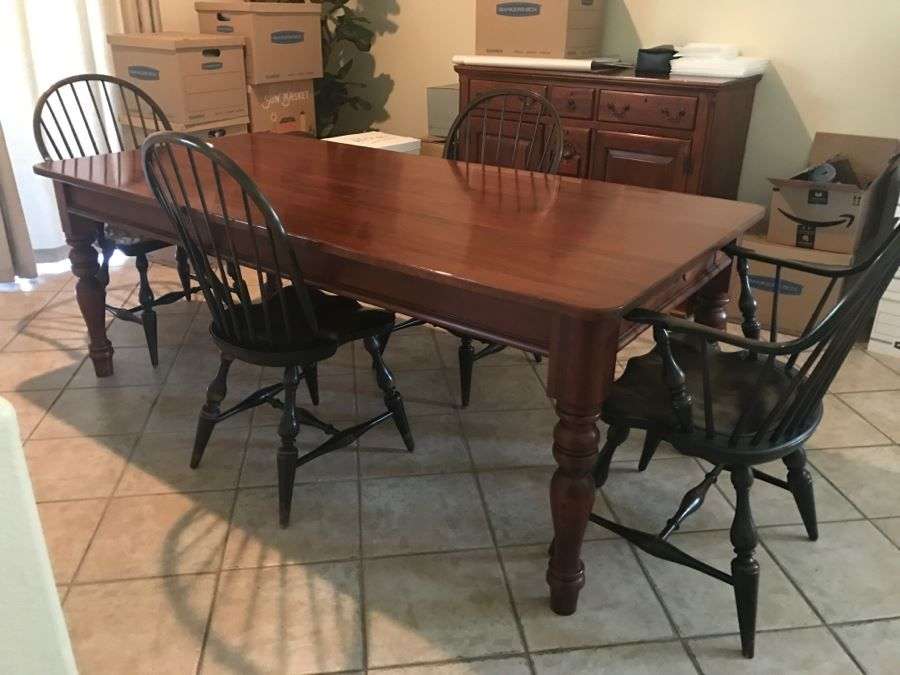 Stunning Bob Timberlake Artist By Lexington Farm Table In Excellent Condition With Four Windsor Styl Windsor Style Chairs Farm Table Bob Timberlake Furniture