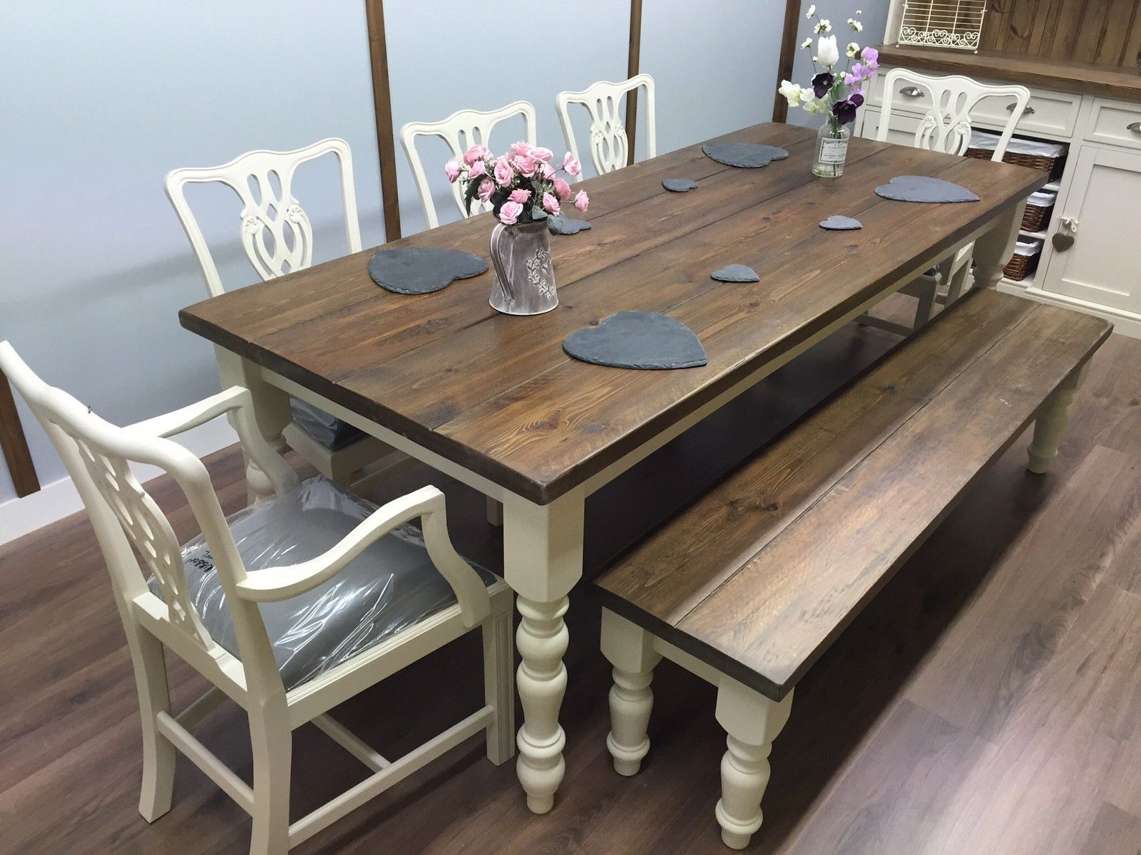 Rustic Pine Farmhouse Dining Table And 5 Chairs Bench Shabby Chic 7ft Oak Large