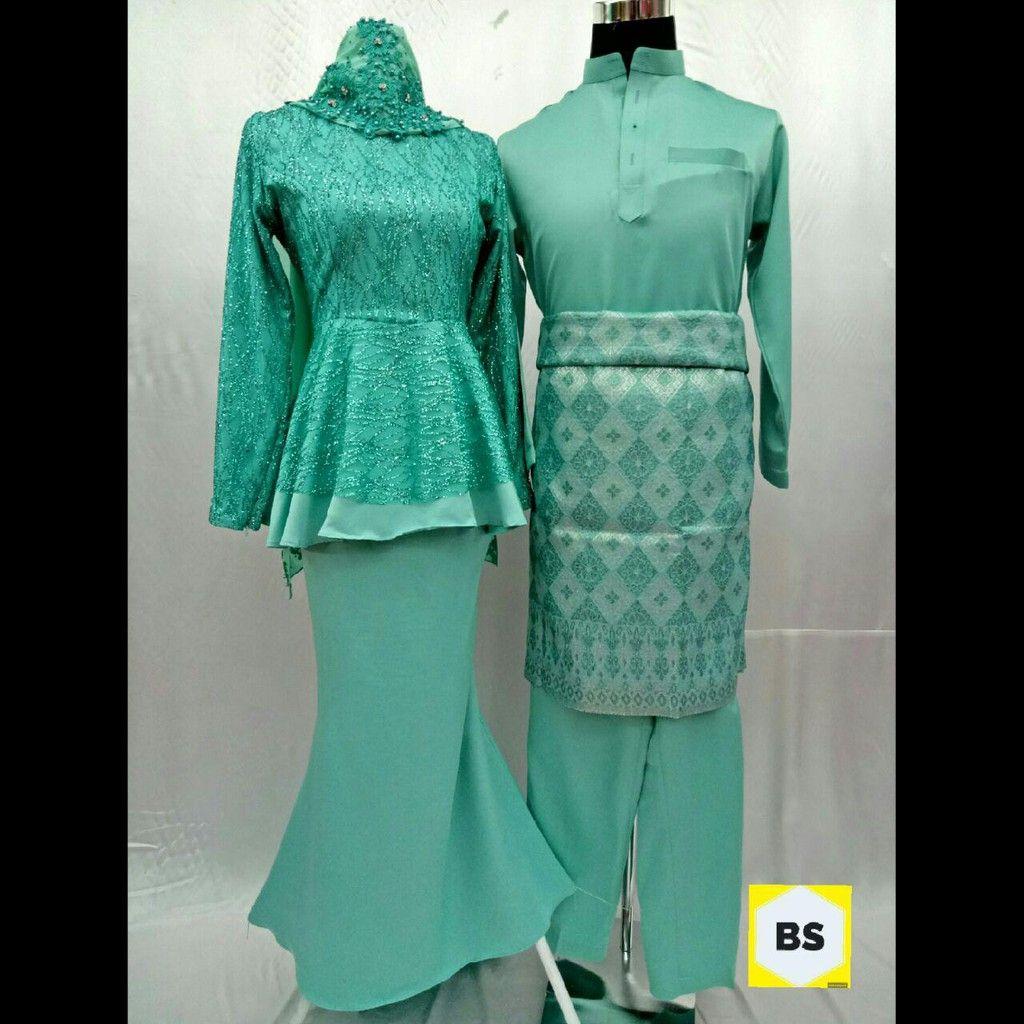 Plus Size Baju Kurung Moden Peplum Lace Glitter Sedondon Baju Melayu Hijau  Mint 3ab07f577c