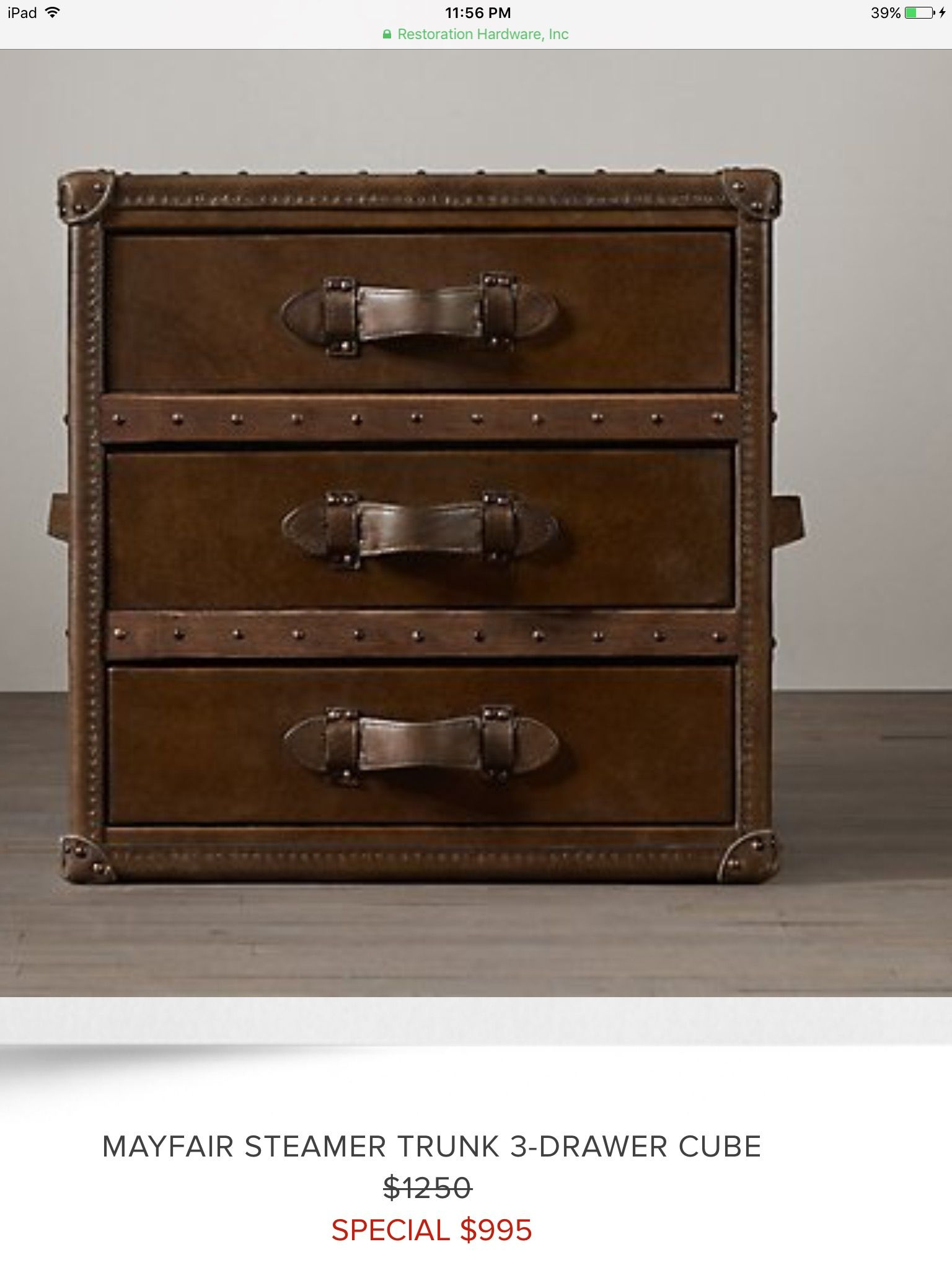 Mayfair Steamer Cube With Drawers Vintage Cigar Leather (Set Of