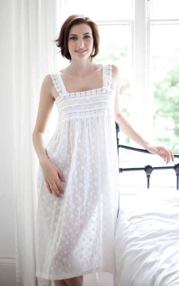 Modern nightgown - Fia Cotton Lawn PolkaDot Strappy Nightdress ... 6eceaf629f66