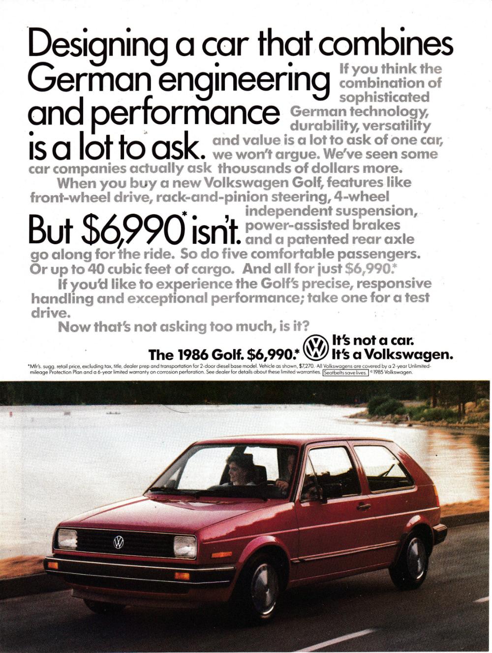 1986 Vw Golf Red Volkswagen Cost 6990 Original Magazine Etsy Volkswagen Classic Cars Vw Golf