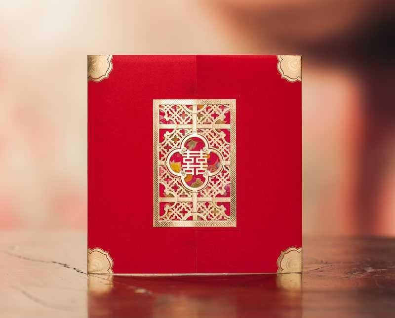 Laser Cut Chinese Garden Red Double Happiness Wedding Invitation Card Vintage Style Marriage Free Customized Print Text CW3070