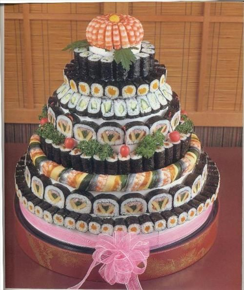 Sushi Art - oooo! a sushi cake! I will have this for my birthday, and a cake bite cake. lol.