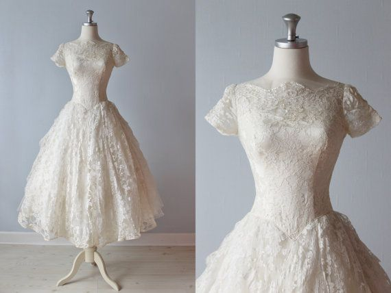 RESERVED 1950s Wedding Dress 50s Bridal Gown Tea Length Lace